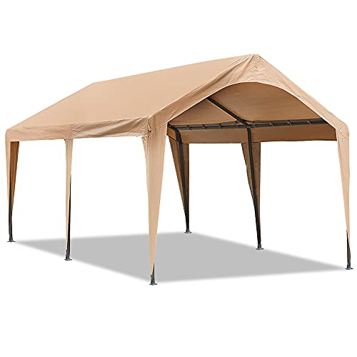 Abba Patio 10x20 ft Heavy Duty Carport Car Canopy Portable Garage Boat Shelter with Fabric Pole Skirts for Party, Wedding, Garden Outdoor Storage Shed 6 Steel Legs, Cream