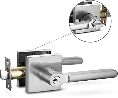 Berlin Modisch Entry Lever Door Handle Lock and Key Slim Square Locking Lever Set [for Front Door or Office] Reversible for Right & Left Sided Doors Heavy Duty – Satin Nickel Finish