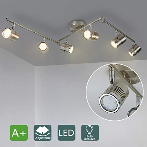 DLLT 6-Light Track Lighting Fixtures Swing Arm, Kitchen Ceiling Spot Light, Flush-Mount Foldable Track Rail Lighting for Living Room, Dining Room, Offices, Bedroom, Picture Wall, Kitchen, Warm Light
