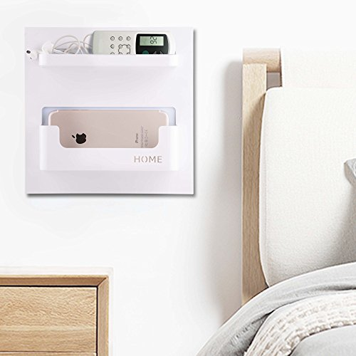 Easy Eco Life Bedside Shelf Accessories Organizer- Wall Mount Self Stick On,Ideal for Glasses,Remote,Earphone, Cell Phone Charger,Manicure Kit