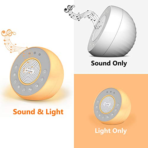 REACHER R2 White Noise Machine and Night Light with 31 Soothing Sounds, 0-100 Dimmable Color Changing Light, Sleep Timer for Sleeping, Feeding, for Baby, Kids, Adult,Bedside Table