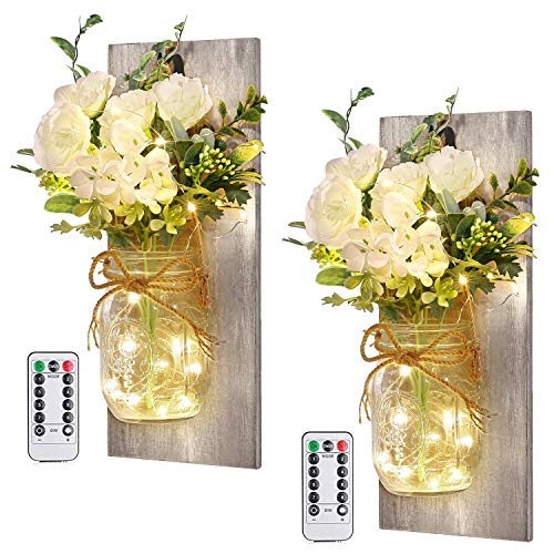 Wall Decor Mason Jar Sconces - Home Decor Wall Art Hanging Design with Remote Control LED Fairy Lights and White Rose, Farmhouse Wall Decorations for Bedroom Living Room Lights Set of Two