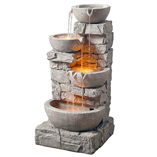Peaktop 201601PT Water 4 Tiered Bowls Floor Stacked Stone Waterfall Fountain with LED Lights and Pump for Outdoor Patio Garden Backyard Decking Décor, 33 inch Height, Gray, 33'