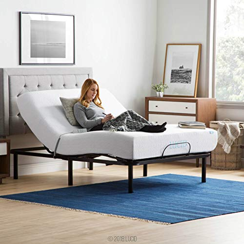 LUCID L100 Adjustable Bed Base Steel Frame - 5 Minute Assembly - Head and Foot Incline - Wired Remote Control - Queen