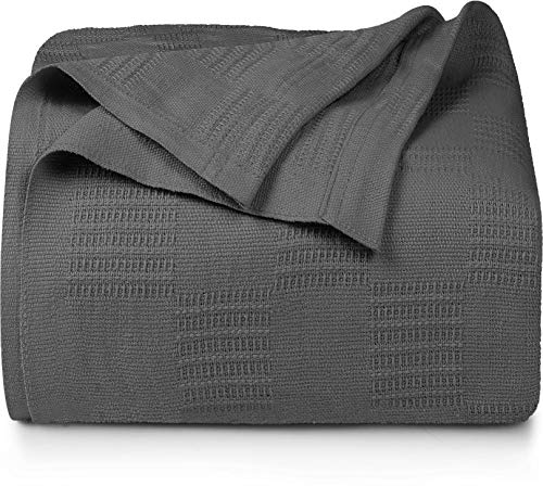 Utopia Bedding Cotton King Blanket Grey - 90x108 Inches Blanket for Bed - 350 GSM Soft Breathable Blanket