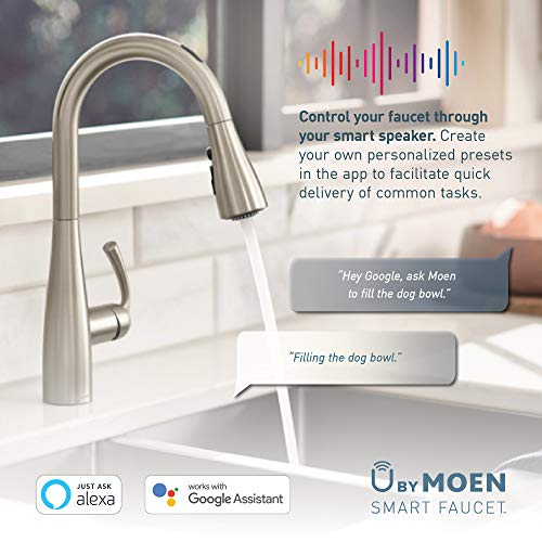 Moen 7594EVC Arbor U by Moen Smart Pulldown Kitchen Faucet with Voice Control and MotionSense, Chrome
