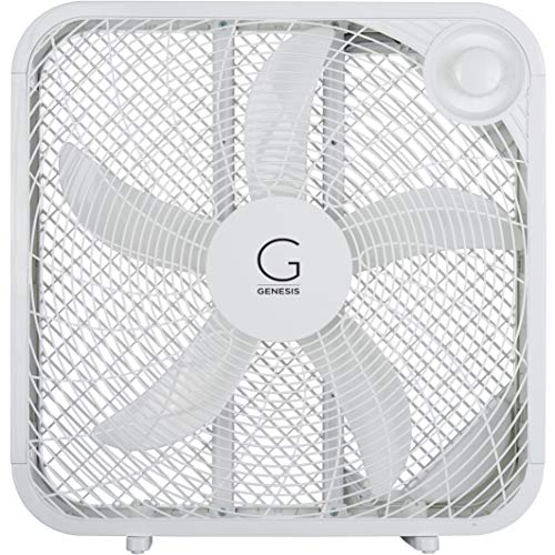 Genesis Box Fan, 3 Settings Max Cooling Technology, Carry Handle, 20 inch, White