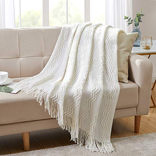 BOURINA Throw Blanket Textured Solid Soft for Sofa Couch Decorative Knitted Blanket, 50' x 60',Off White