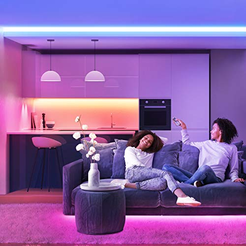 Lepro 50ft LED Strip Light, Ultra-Long RGB 5050 LED Strips with Remote Controller and Fixing Clips, Color Changing Tape Light with 24V ETL Listed Adapter for Bedroom, Room, Kitchen, Bar(2 X 24.6FT)