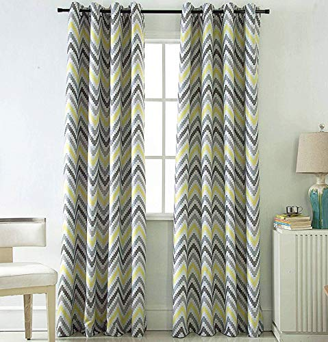 Jarl home Yellow Blackout Curtains for Bedroom - 2 Panels Water Ripple Window Drape Grommet Polyester Printing Curtains for Living Room (Yellow, 5284)