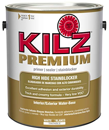 KILZ Premium High-Hide Stain Blocking Interior/Exterior Latex Primer/Sealer, White, 1-gallon