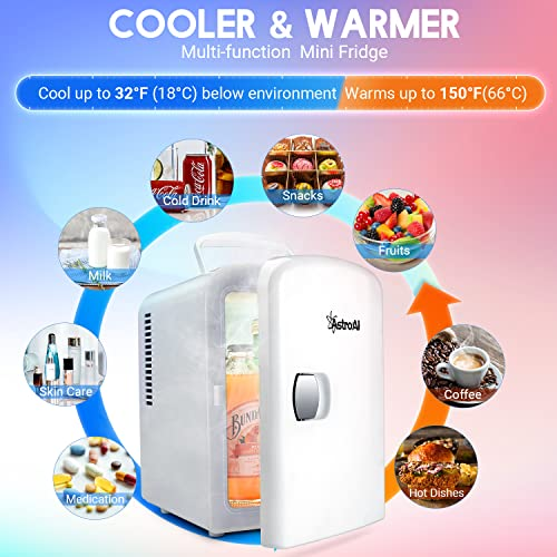 AstroAI Mini Fridge, 4 Liter/6 Can AC/DC Portable Thermoelectric Cooler and Warmer Refrigerators for Skincare, Beverage,Foods, Medications, Home and Travel, ETL Listed (White)