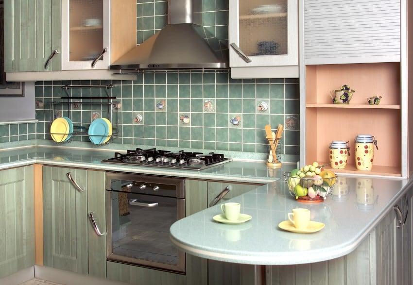 close-up-shot-of-a-green-modern-kitchen