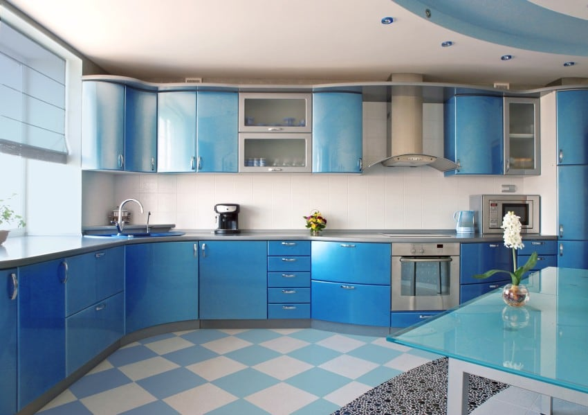 Very Beautiful Bright Blue Kitchen With Silver Cabinets Work Surfaces And Handles Its Specialty Is The Rounded Lines That Stand Out At Top