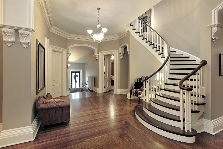 foyer with curved staircase - Foyer Design Ideas