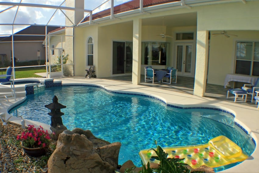 Backyard swimming pools types and cost epic home ideas for Florida house plans with lanai