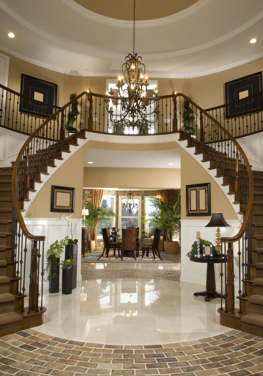 40 fantastic foyer entryways in luxury houses images Inside staircase in houses