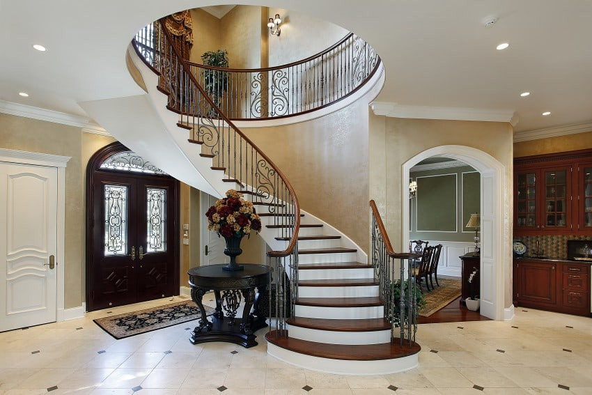 Amazing luxury foyer design ideas photos with staircases for 2 story foyer conversion