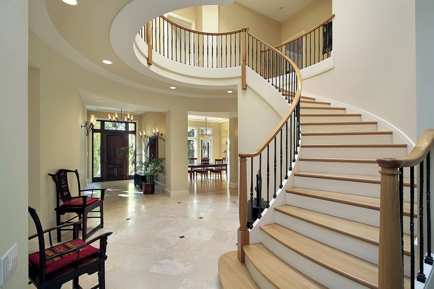 Amazing Luxury Foyer Design Ideas PHOTOS with Staircases : 11 bigstock Foyer With Curved Staircase 6683280 from www.epichomeideas.com size 850 x 567 jpeg 75kB