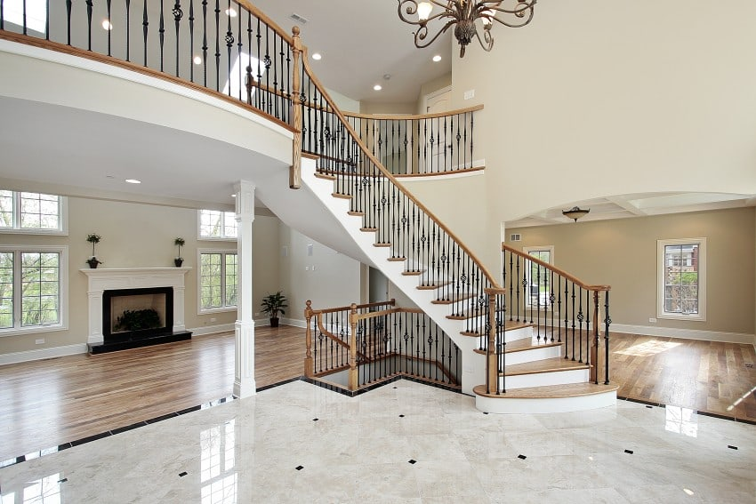 Amazing luxury foyer design ideas photos with staircases for 2 story wheelchair lift