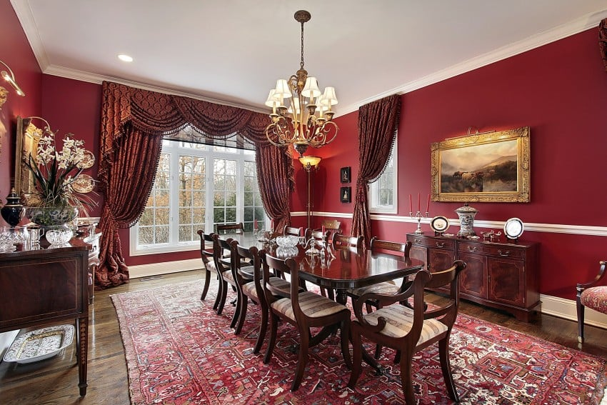 Amazing dining room interior design image gallery - Red dining room color ideas ...