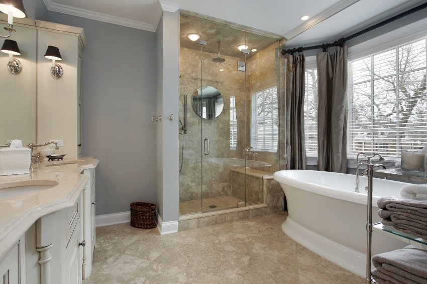 Grey, beige and white bathroom
