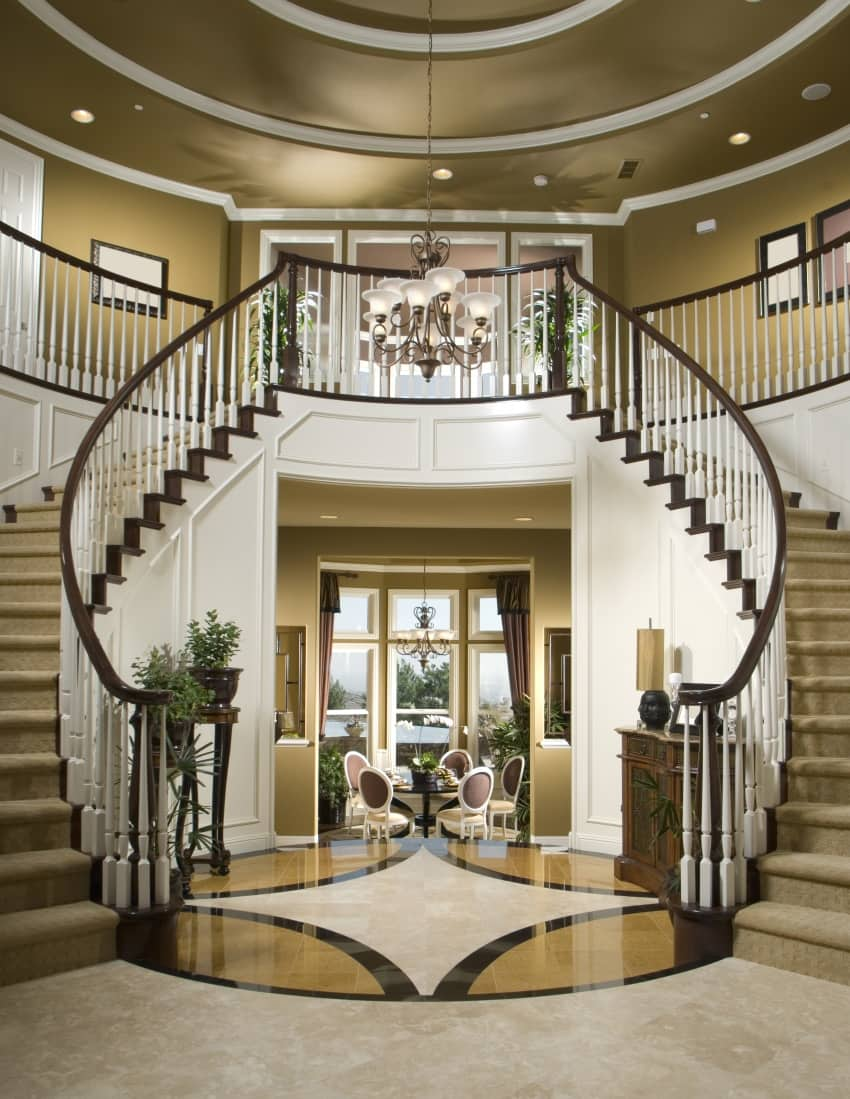 40 fantastic foyer entryways in luxury houses images for House plans with stairs in foyer