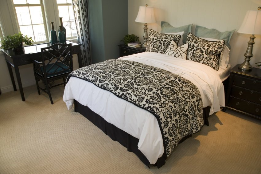 Black and white jacquard bedding