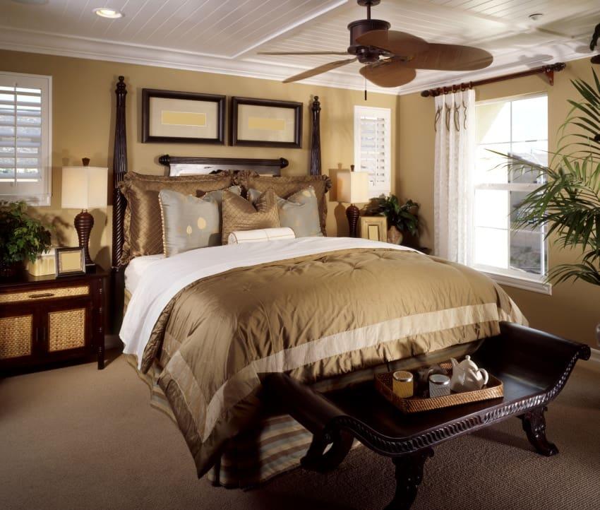golden bungalow bedroom