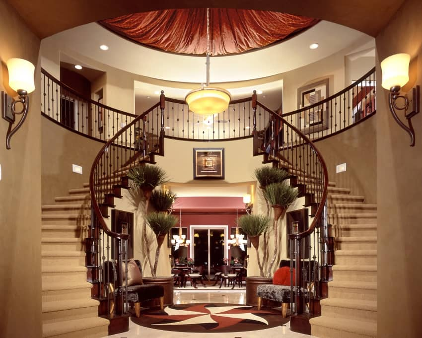 foyer with double staircase