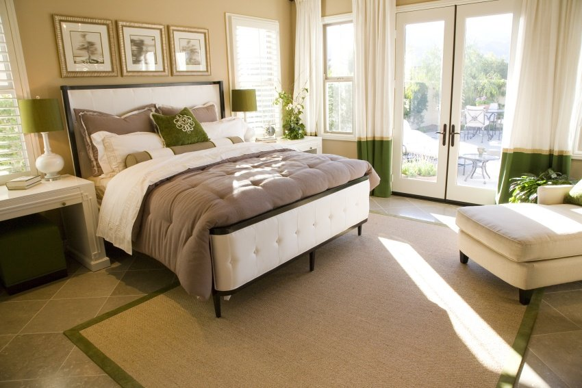 cream and green color bedroom