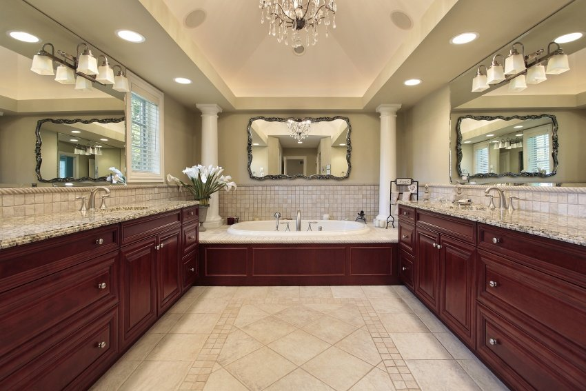 classic bathroom layout with double mirrors
