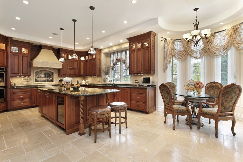 classical kitchen with a dining area