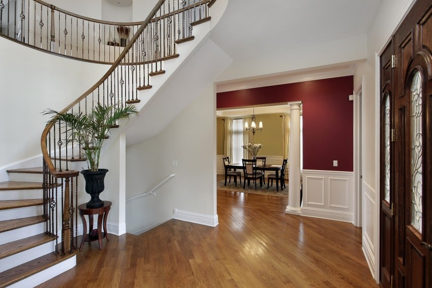 Foyer-in-luxury-home-with-curved stair