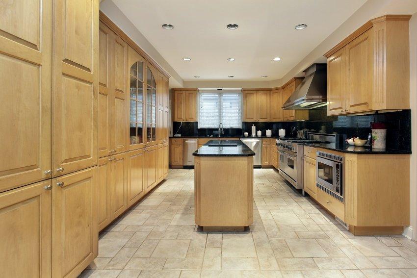 natural oak and black quartz kitchen