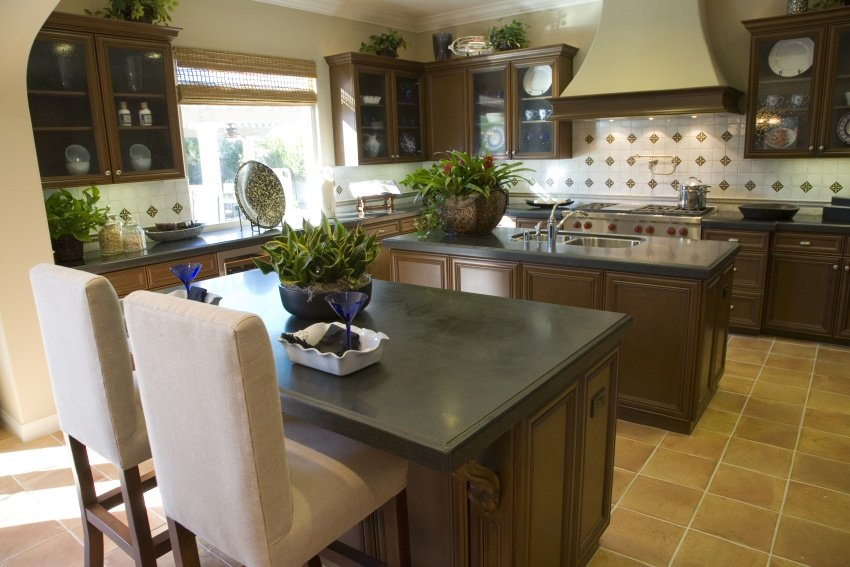 kitchen design in dark chocolate hues looks yummy Black countertops