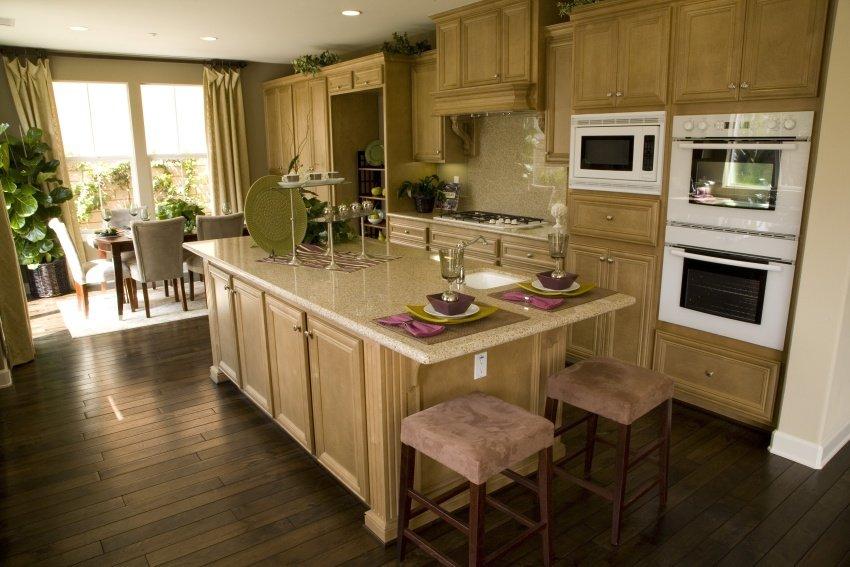 open concept oak wood kitchen