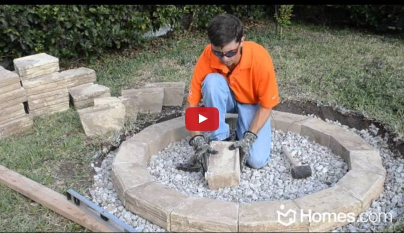 Backyard fire pit DIY with Stones