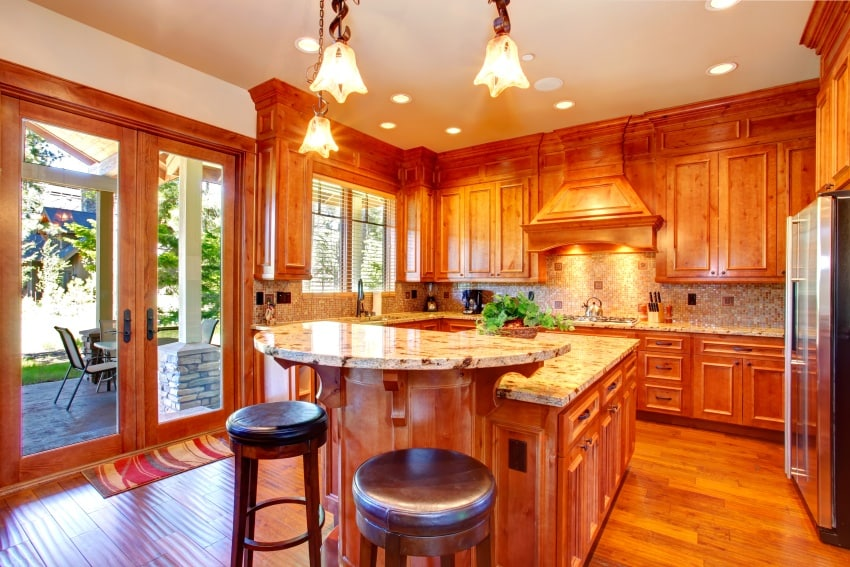 kitchen with vibrant wood textures
