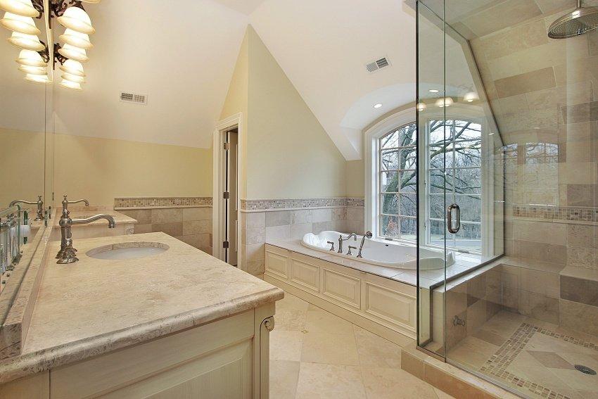 Creative Modern Bathroom With Sandcoloured Tiles On Floor Walls Washstand