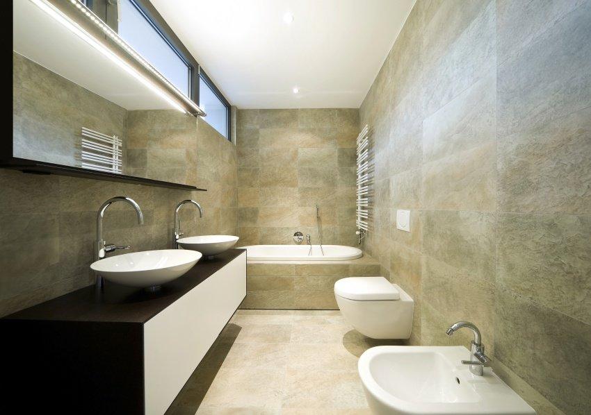 modern bathroom in narrow space