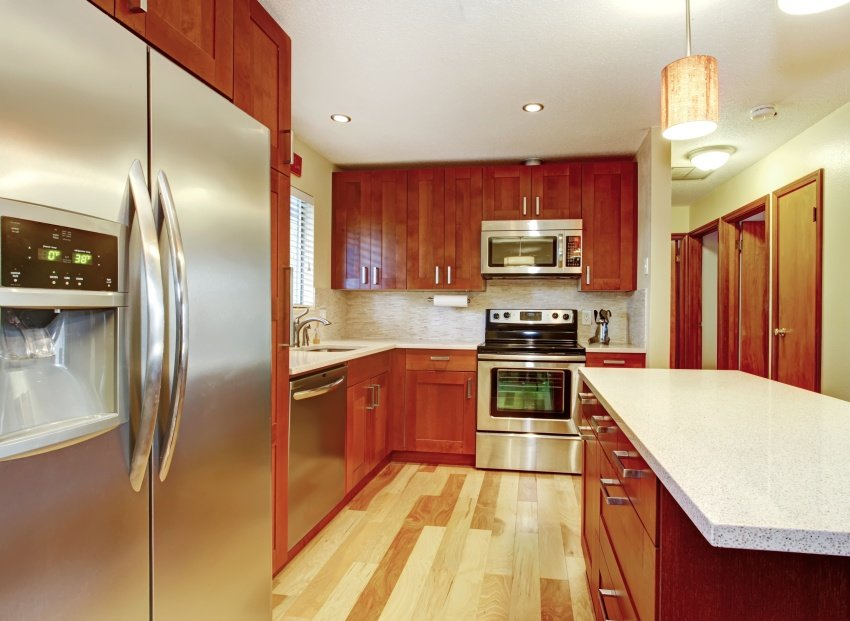 red wood cabinets
