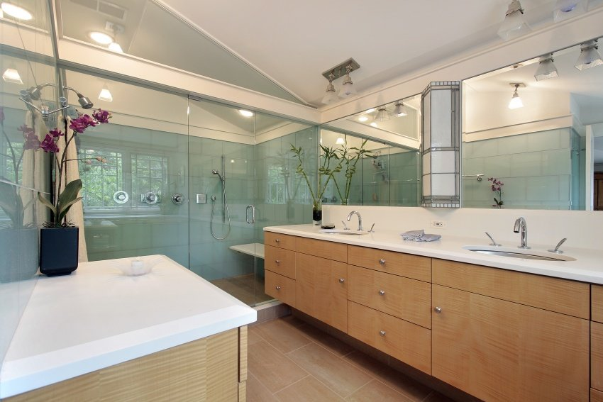 bathroom with large vanity cabinet