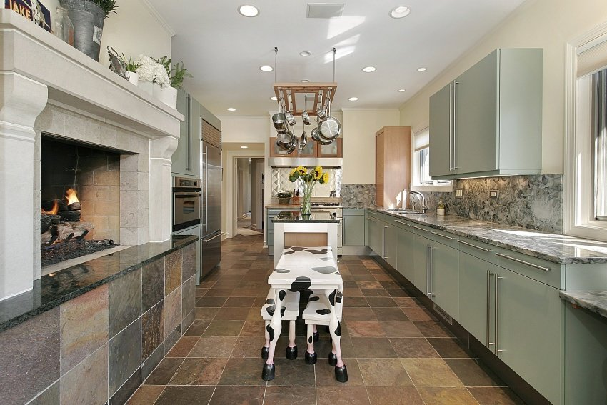 contemporary kitchen with cow patterned table