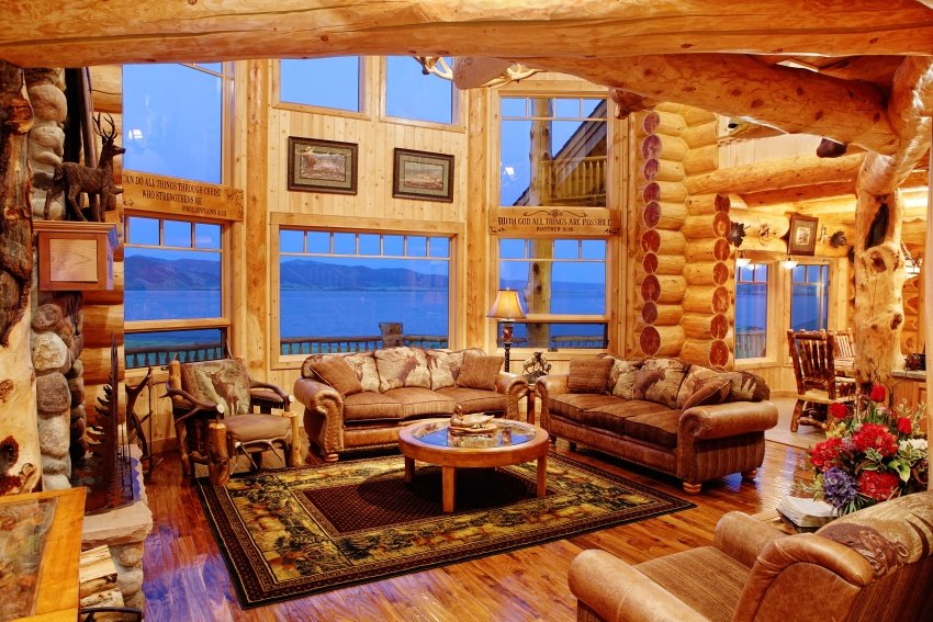 log cabin family room