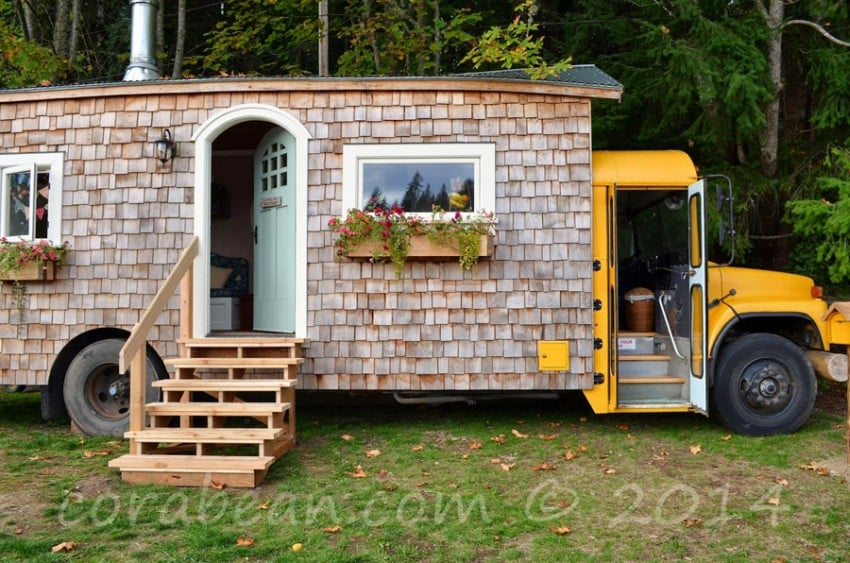 converted bus into a small home