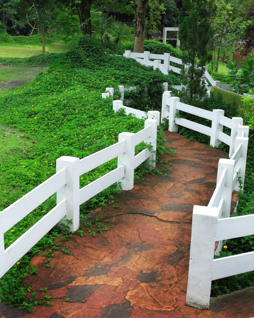 split rail fence in walkway