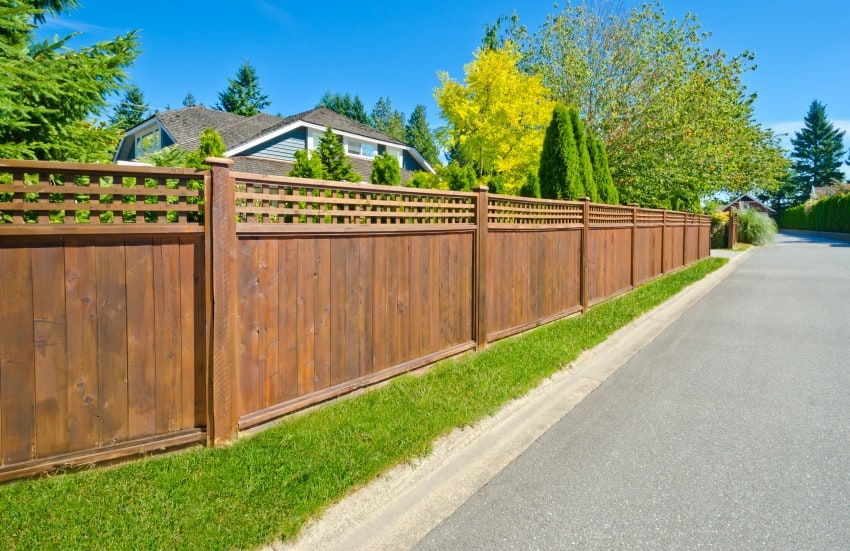 Long wooden cedar fence