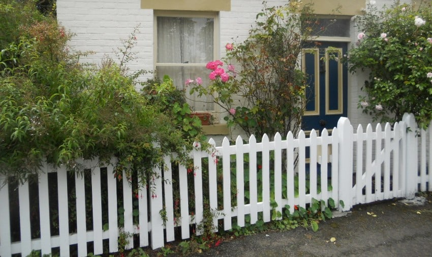 traditional white picket fence