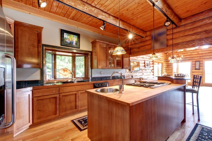 log home kitchen interior
